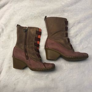 Timberland Heeled Boots Brown Red 8.5